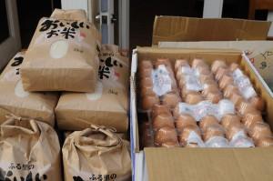 ロハスカフェさんのMy農家発、奈良県産のひのひかり(お米)と卵。